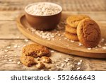 oatmeal cookies and bowl with... | Shutterstock . vector #552666643