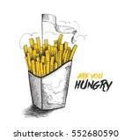 french fries in paper box for... | Shutterstock .eps vector #552680590