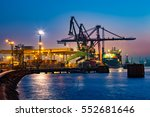 container ship at night in port ... | Shutterstock . vector #552681646