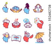 flat icons set of psychotherapy.... | Shutterstock .eps vector #552682738