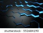 glowing blue hexagon pattern...   Shutterstock . vector #552684190