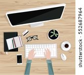 office desktop with isolated... | Shutterstock .eps vector #552687964