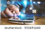 hand touch screen smart phone.... | Shutterstock . vector #552691660
