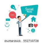 man bubble speech smartphone... | Shutterstock .eps vector #552710728