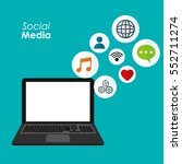 laptop social media... | Shutterstock .eps vector #552711274