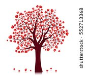 red hearts tree vector... | Shutterstock .eps vector #552713368