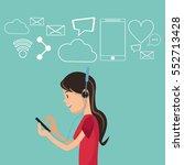girl using smartphone... | Shutterstock .eps vector #552713428