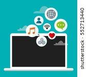 laptop cloud connection social... | Shutterstock .eps vector #552713440