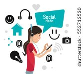 girl mobile headphones... | Shutterstock .eps vector #552713530