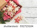 gingerbread cookies on wooden... | Shutterstock . vector #552725104
