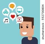 cartoon man social media apps | Shutterstock .eps vector #552730804