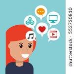 cartoon girl social media apps | Shutterstock .eps vector #552730810
