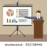 projector screen with chart pie ... | Shutterstock .eps vector #552738940