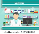 modern interior pharmacy or... | Shutterstock .eps vector #552739060