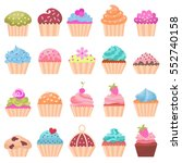 icons cupcake  flat style....   Shutterstock .eps vector #552740158
