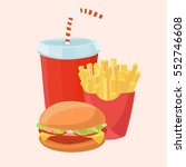 tasty french fries  cold drink... | Shutterstock .eps vector #552746608
