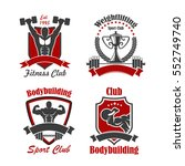 bodybuilding and weightlifting... | Shutterstock .eps vector #552749740