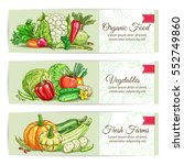 organic vegetables banners.... | Shutterstock .eps vector #552749860