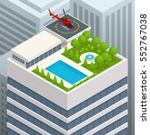 isometric helipad on the green... | Shutterstock . vector #552767038