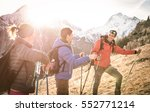 group of friends trekking on... | Shutterstock . vector #552771214