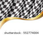Checkered Flag Flying And Gold...