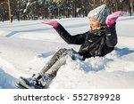 Happy Woman In A Winter Park