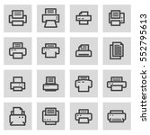 vector line printer icons set... | Shutterstock .eps vector #552795613