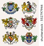 vector heraldic set of... | Shutterstock .eps vector #552797944