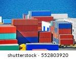 port cargo container in port of ...   Shutterstock . vector #552803920