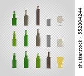 different bottles and glasses... | Shutterstock .eps vector #552804244