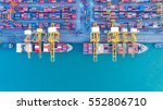 container ship in export and... | Shutterstock . vector #552806710