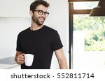 guy in black t shirt with... | Shutterstock . vector #552811714