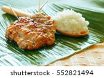 grilled pork with sticky rice ... | Shutterstock . vector #552821494