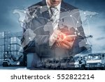 businessman is pressing button... | Shutterstock . vector #552822214