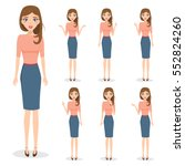 set of business woman character ... | Shutterstock .eps vector #552824260