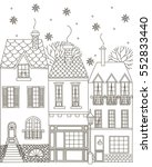 winter town. coloring book. | Shutterstock .eps vector #552833440