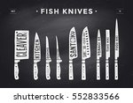 fish cutting knives set. poster ... | Shutterstock . vector #552833566