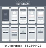 wireframe kit for mobile phone. ... | Shutterstock .eps vector #552844423