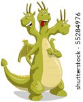 Amusing Green Dragon With Thre...