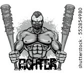 bodybuilder  with baseball bat  ... | Shutterstock .eps vector #552854980