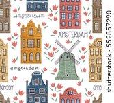 amsterdam. seamless pattern... | Shutterstock .eps vector #552857290