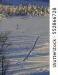 tracks in the snow in svandalen ... | Shutterstock . vector #552866728