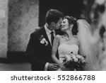 black and white photo bride and ... | Shutterstock . vector #552866788