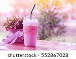 ice coffee in plastic cups on... | Shutterstock . vector #552867028