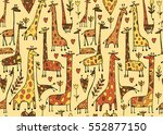 funny giraffes sketch  seamless ... | Shutterstock .eps vector #552877150
