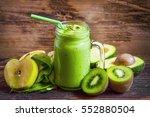 healthy green detox smoothie...   Shutterstock . vector #552880504