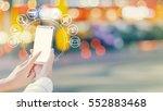 woman hands using smartphone... | Shutterstock . vector #552883468
