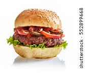 close up of juicy beef patty on ...   Shutterstock . vector #552899668