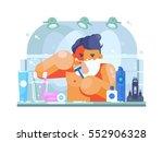 man in bathroom shaves | Shutterstock .eps vector #552906328
