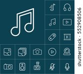 thin line music note icon on...